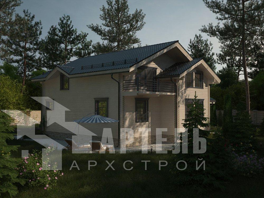 двухэтажный дом из профилированного бруса площадью свыше 200 кв. м. с  балконом, верандой, мансардой, проект Вариант 12 Б фотография 4123