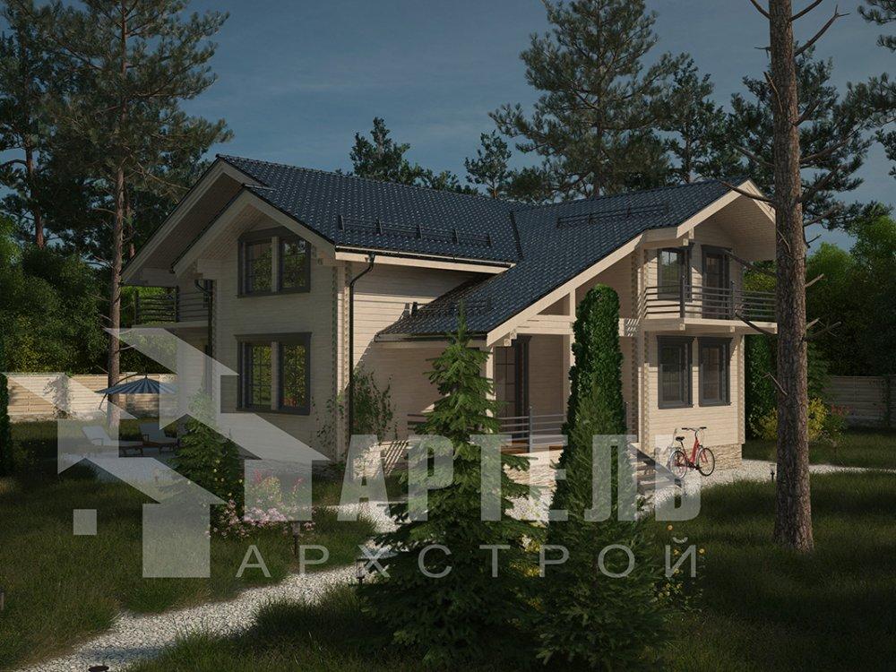 двухэтажный дом из профилированного бруса площадью свыше 200 кв. м. с  балконом, верандой, мансардой, проект Вариант 12 Б фотография 4124