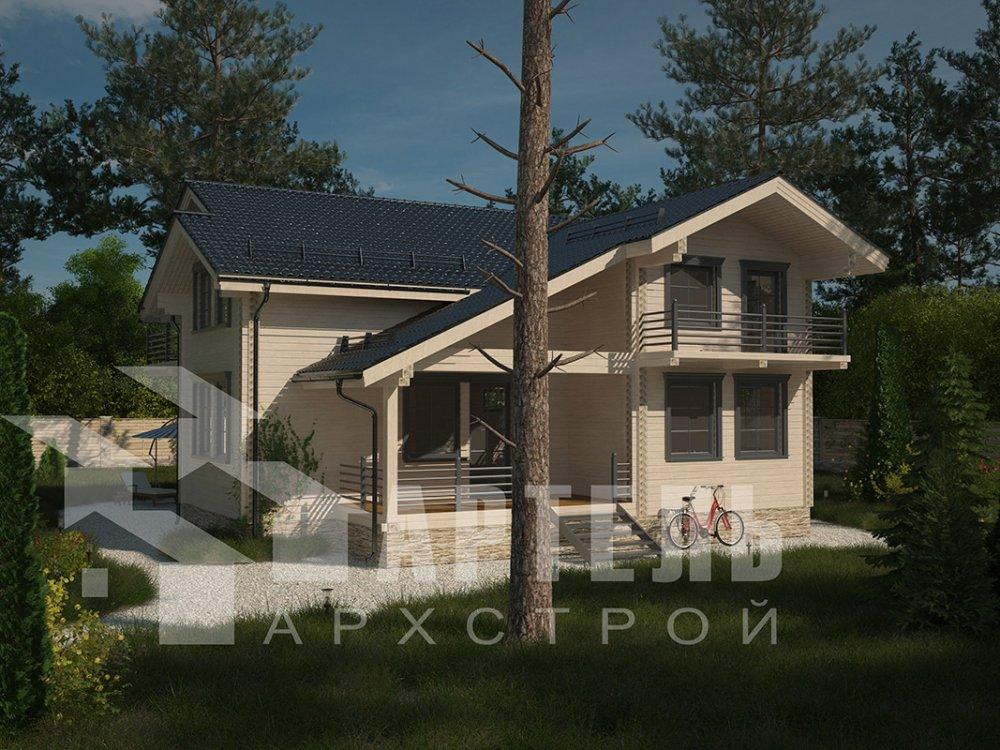 двухэтажный дом из профилированного бруса площадью свыше 200 кв. м. с  балконом, верандой, мансардой, проект Вариант 12 Б фотография 4113