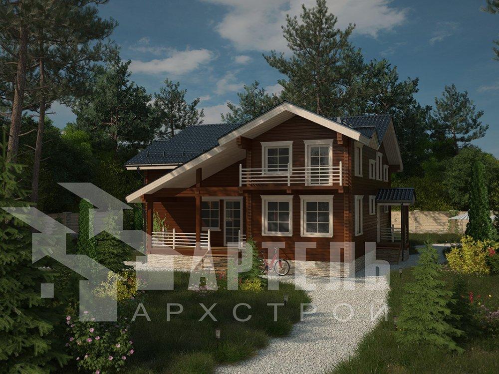 двухэтажный дом из профилированного бруса площадью свыше 200 кв. м. с  балконом, верандой, мансардой, проект Вариант 12 Б фотография 4114