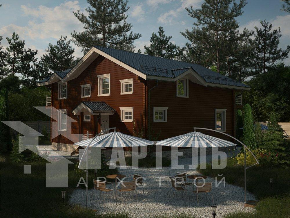 двухэтажный дом из профилированного бруса площадью свыше 200 кв. м. с  балконом, верандой, мансардой, проект Вариант 12 Б фотография 4116