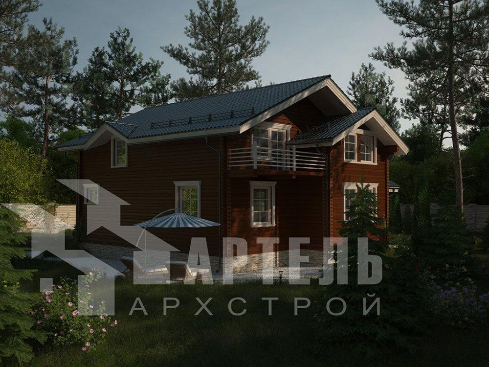 двухэтажный дом из профилированного бруса площадью свыше 200 кв. м. с  балконом, верандой, мансардой, проект Вариант 12 Б фотография 4117