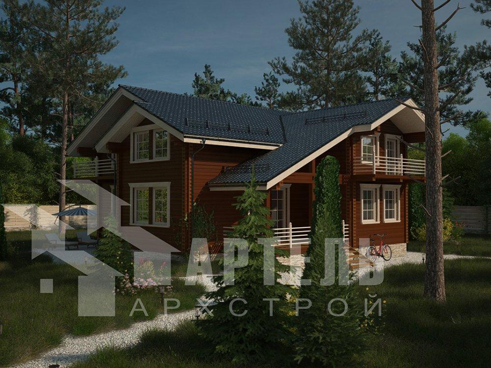 двухэтажный дом из профилированного бруса площадью свыше 200 кв. м. с  балконом, верандой, мансардой, проект Вариант 12 Б фотография 4118