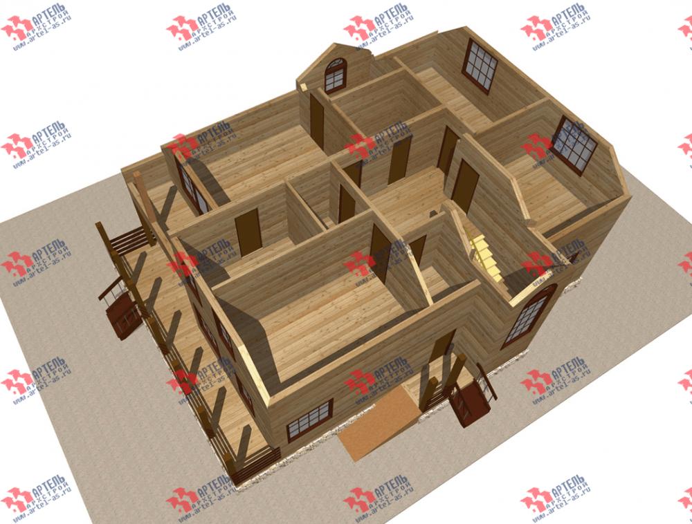 двухэтажный дом из бруса площадью свыше 200 кв. м. с  балконом, террасой, эркером, проект Вариант 13.3 А фотография 3707