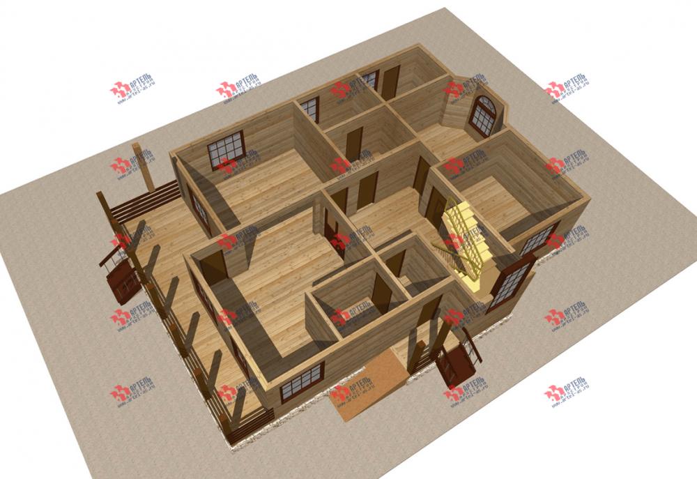 двухэтажный дом из бруса площадью свыше 200 кв. м. с  балконом, террасой, эркером, проект Вариант 13.3 А фотография 3708