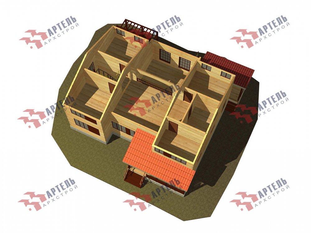двухэтажный дом из профилированного бруса площадью свыше 200 кв. м. с  верандой, мансардой, проект Вариант 13.7 А фотография 4627