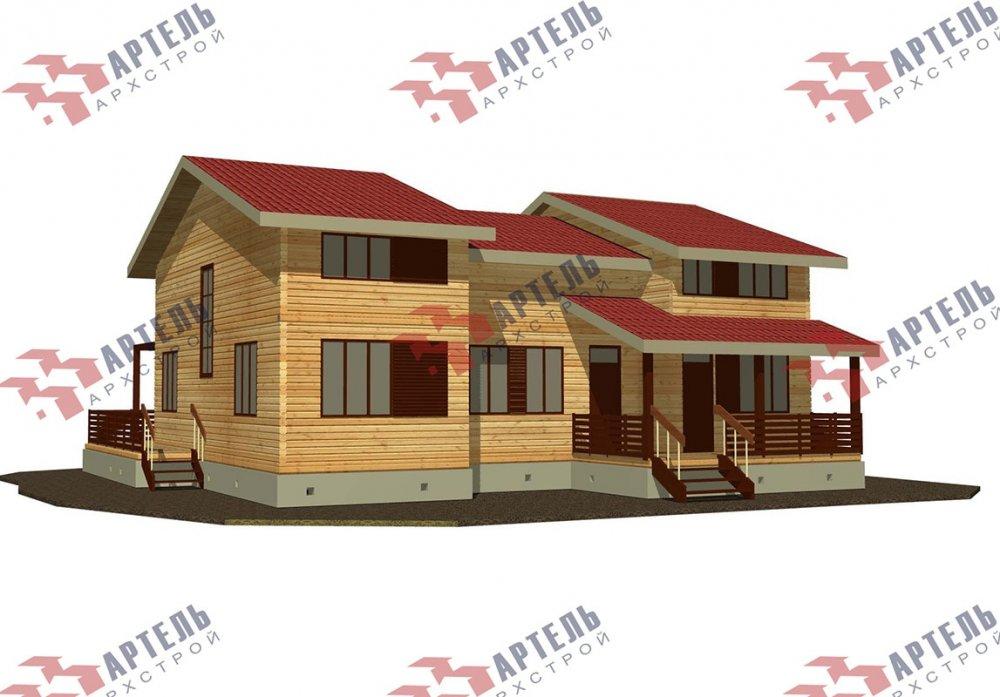 двухэтажный дом из профилированного бруса площадью свыше 200 кв. м. с  верандой, мансардой, проект Вариант 13.7 А фотография 4624