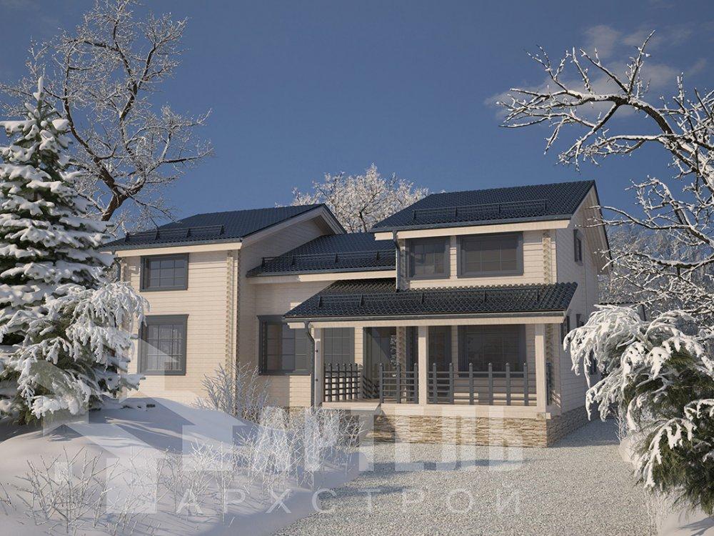двухэтажный дом из профилированного бруса площадью свыше 200 кв. м. с  верандой, мансардой, проект Вариант 13.7 А фотография 4611