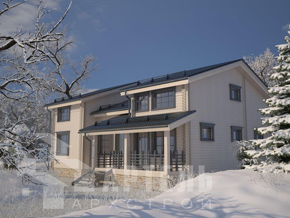 двухэтажный дом из профилированного бруса площадью свыше 200 кв. м. с  верандой, мансардой, проект Вариант 13.7 А фотография 4612