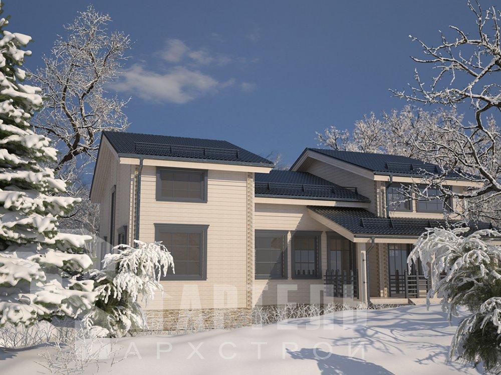 двухэтажный дом из профилированного бруса площадью свыше 200 кв. м. с  верандой, мансардой, проект Вариант 13.7 А фотография 4614