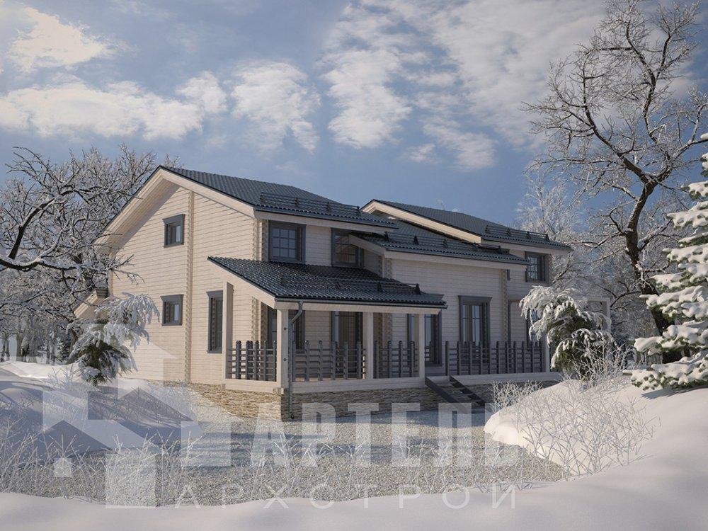 двухэтажный дом из профилированного бруса площадью свыше 200 кв. м. с  верандой, мансардой, проект Вариант 13.7 А фотография 4616