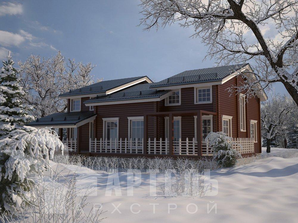 двухэтажный дом из профилированного бруса площадью свыше 200 кв. м. с  верандой, мансардой, проект Вариант 13.7 А фотография 4617