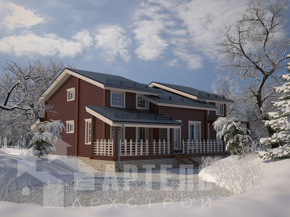 двухэтажный дом из профилированного бруса площадью свыше 200 кв. м. с  верандой, мансардой, проект Вариант 13.7 А фотография 4619