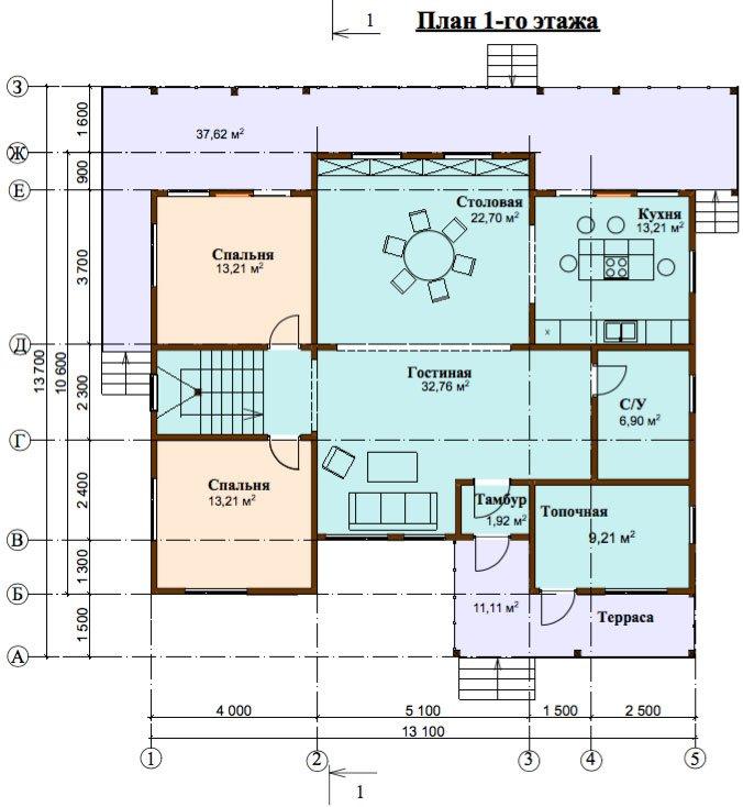 двухэтажный дом из профилированного бруса площадью свыше 200 кв. м. с  верандой, мансардой, проект Вариант 13.7 А фотография 4633