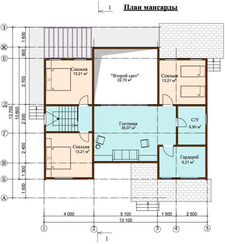 двухэтажный дом из профилированного бруса площадью свыше 200 кв. м. с  верандой, мансардой, проект Вариант 13.7 А фотография 4634