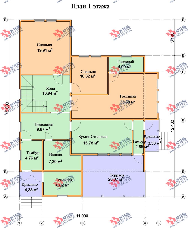 двухэтажный дом из бруса площадью свыше 200 кв. м. с  мансардой, террасой, проект Вариант 11.1 А фотография 2646