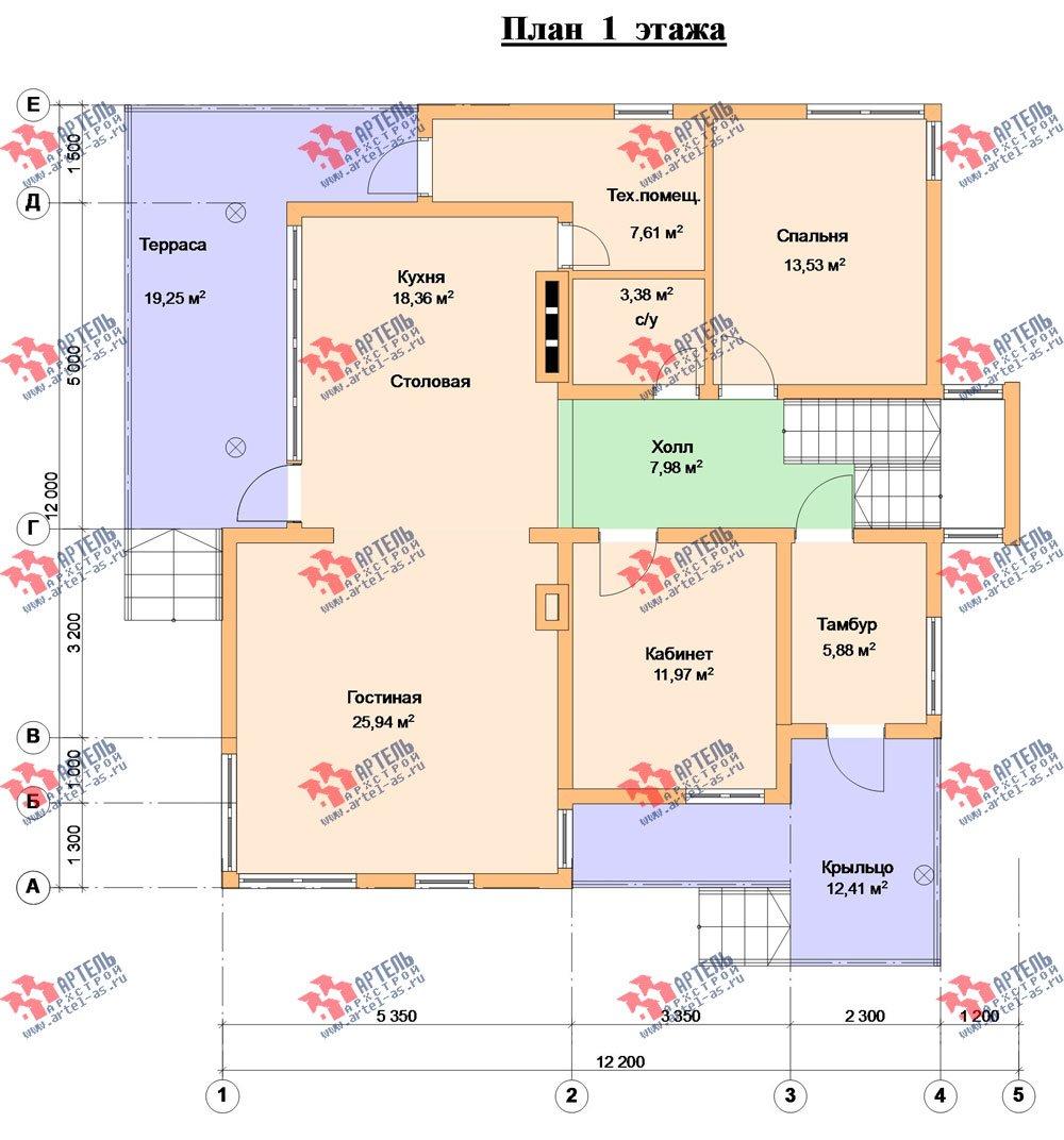 двухэтажный дом из профилированного бруса камерной сушки площадью свыше 200 кв. м. с  балконом, террасой, проект Вариант 3 фотография 2547
