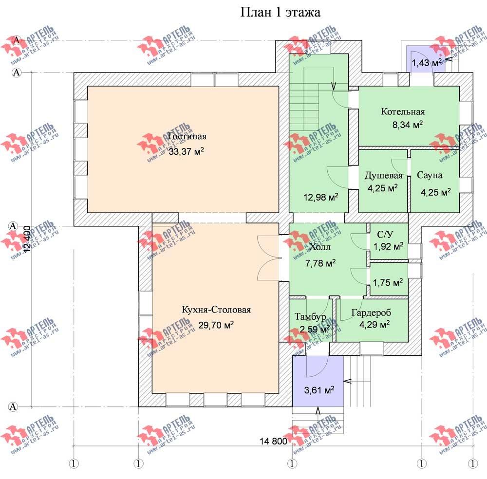 трёхэтажный дом омбинированные дома площадью свыше 200 кв. м. с  балконом, мансардой, эркером, проект Вариант 13 фотография 576