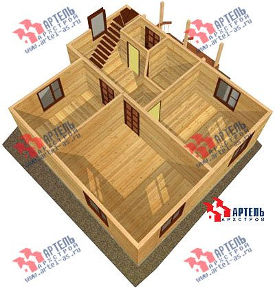 двухэтажный дом из бруса площадью от 100 до 150 кв. м. с  верандой, мансардой, эркером, проект Вариант 8 Е фотография 1038