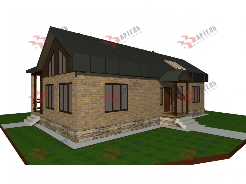 дом омбинированные дома, проект Вариант 14Т Камень и Комбинированный фотография 6318