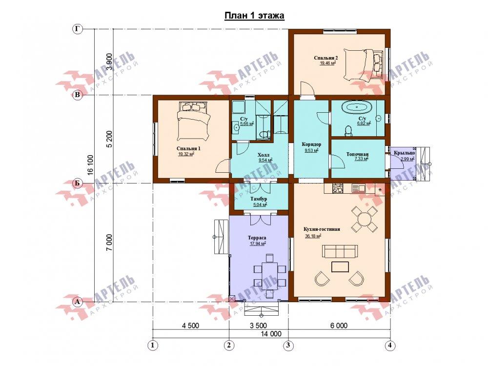 дом омбинированные дома, проект Вариант 14Т Камень и Комбинированный фотография 6322