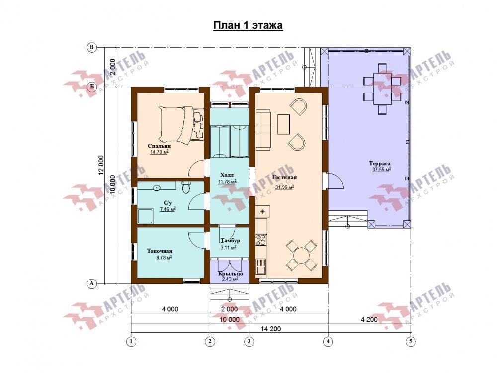 дом омбинированные дома площадью от 150 до 200 кв. м. с  мансардой, проект Вариант 14,2А Камень и Комбинированный фотография 6186
