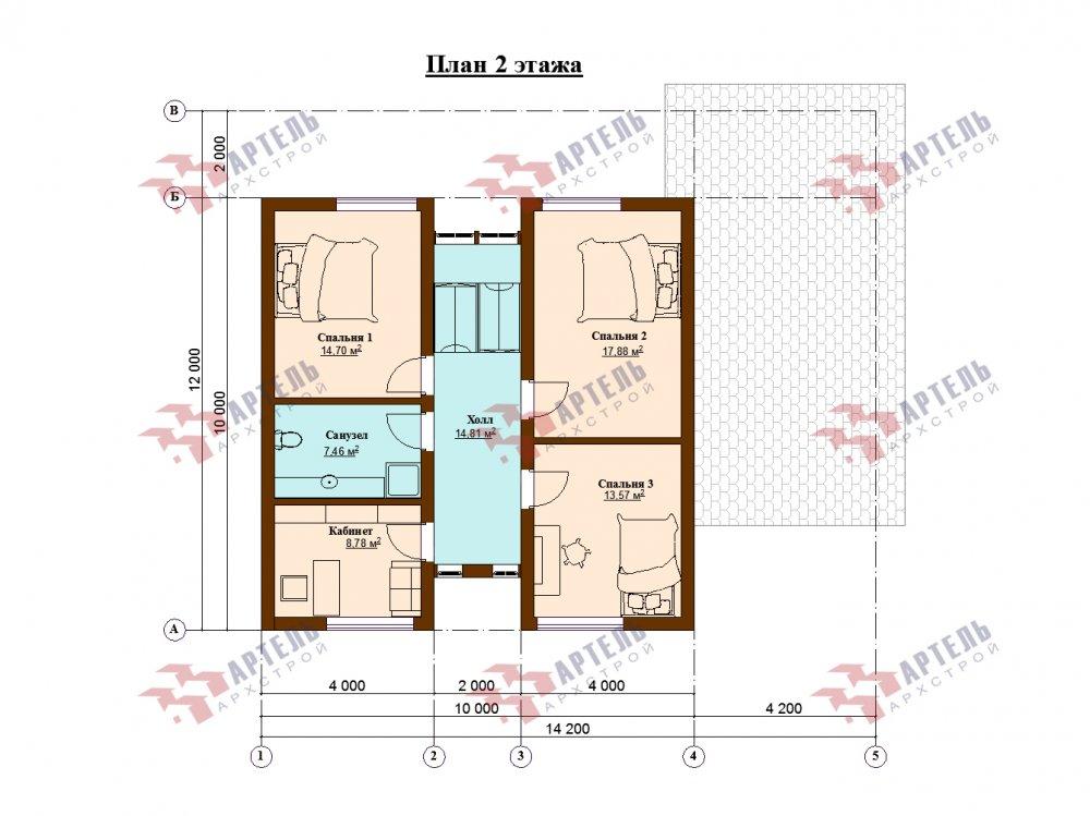 дом омбинированные дома площадью от 150 до 200 кв. м. с  мансардой, проект Вариант 14,2А Камень и Комбинированный фотография 6187