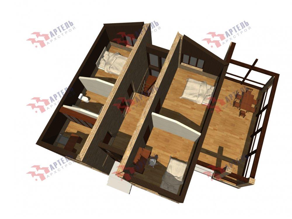 дом омбинированные дома площадью от 150 до 200 кв. м. с  мансардой, проект Вариант 14,2А Камень и Комбинированный фотография 6189