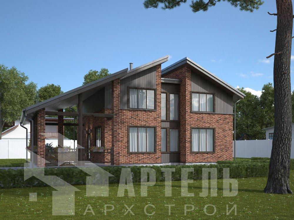 дом омбинированные дома площадью от 150 до 200 кв. м. с  мансардой, проект Вариант 14,2А Камень и Комбинированный фотография 6176
