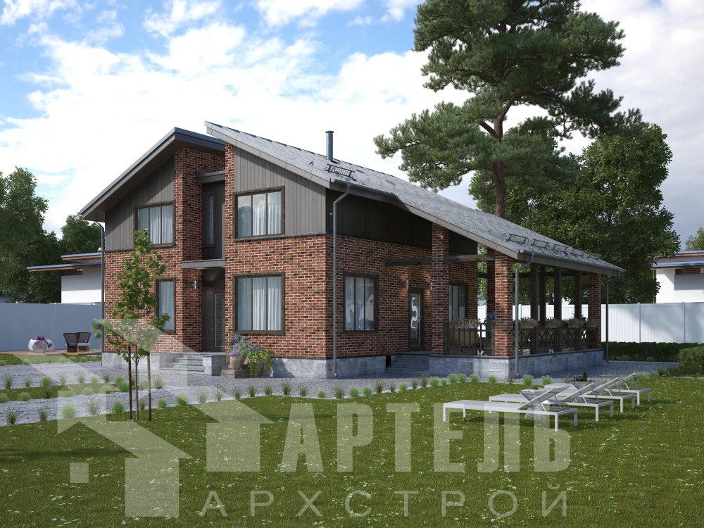 дом омбинированные дома площадью от 150 до 200 кв. м. с  мансардой, проект Вариант 14,2А Камень и Комбинированный фотография 6177