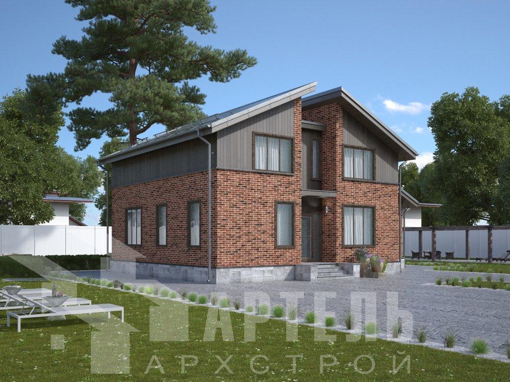 дом омбинированные дома площадью от 150 до 200 кв. м. с  мансардой, проект Вариант 14,2А Камень и Комбинированный фотография 6178