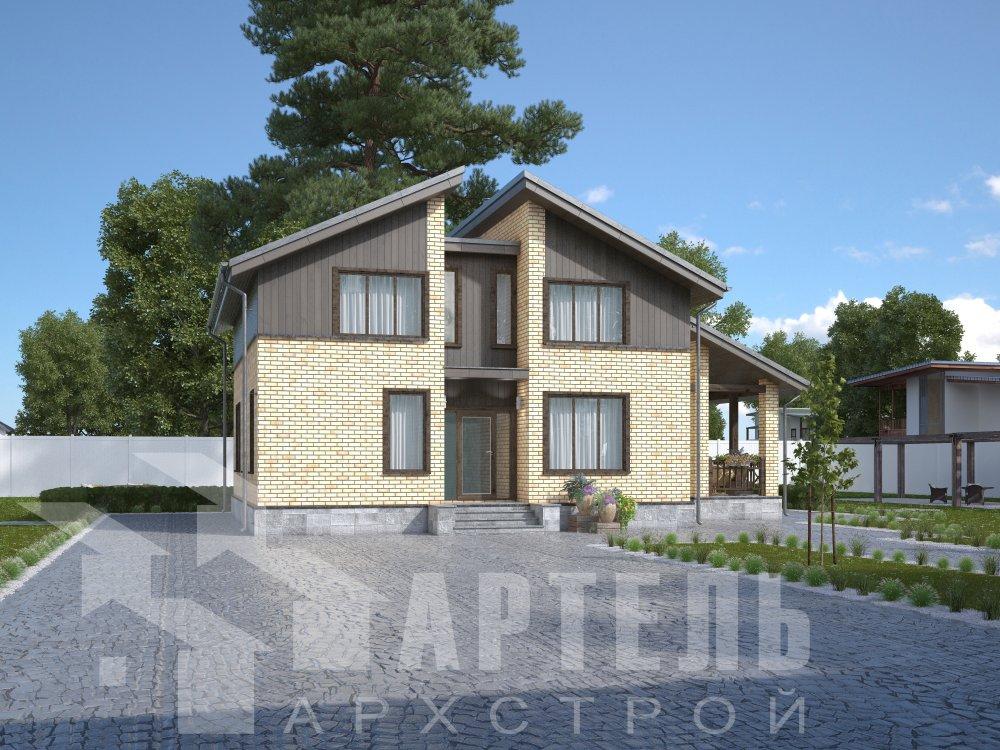 дом омбинированные дома площадью от 150 до 200 кв. м. с  мансардой, проект Вариант 14,2А Камень и Комбинированный фотография 6168