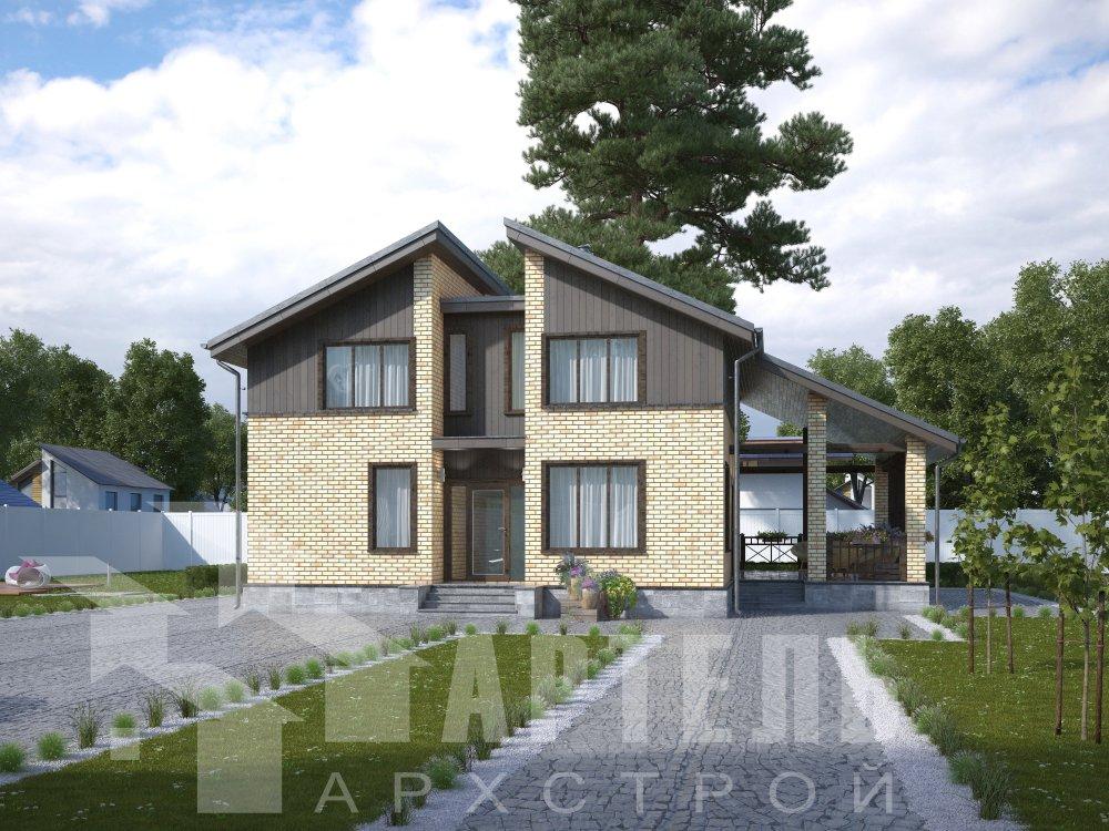 дом омбинированные дома площадью от 150 до 200 кв. м. с  мансардой, проект Вариант 14,2А Камень и Комбинированный фотография 6190