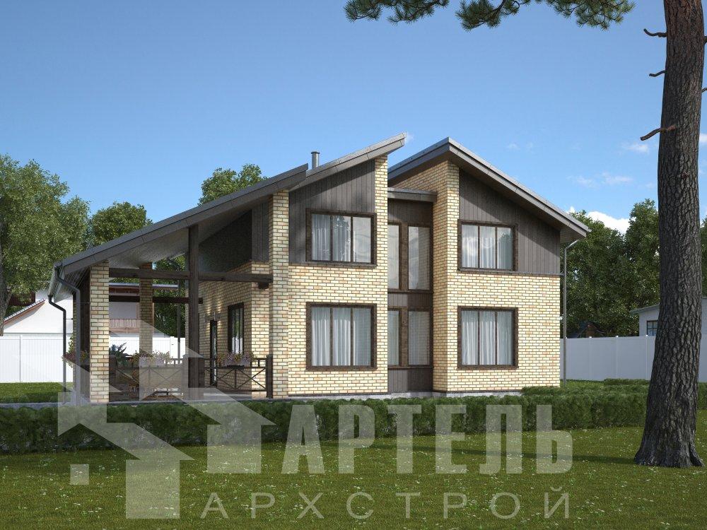 дом омбинированные дома площадью от 150 до 200 кв. м. с  мансардой, проект Вариант 14,2А Камень и Комбинированный фотография 6170