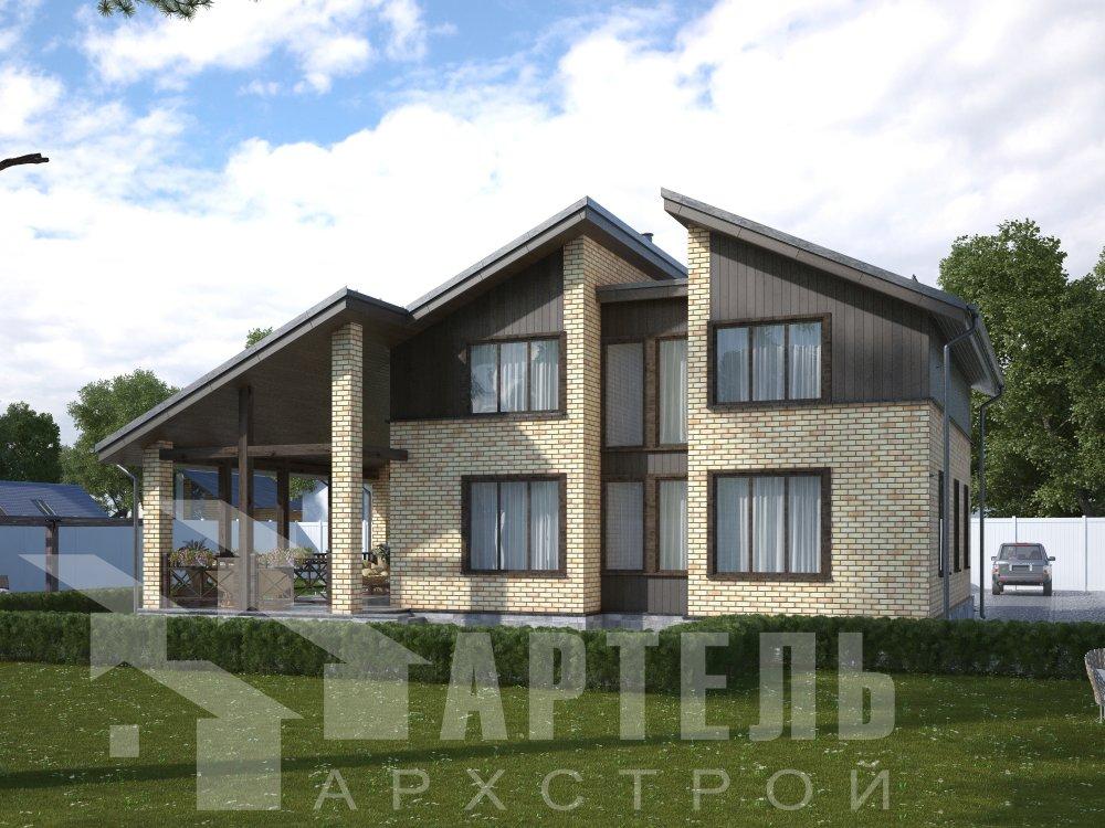 дом омбинированные дома площадью от 150 до 200 кв. м. с  мансардой, проект Вариант 14,2А Камень и Комбинированный фотография 6171
