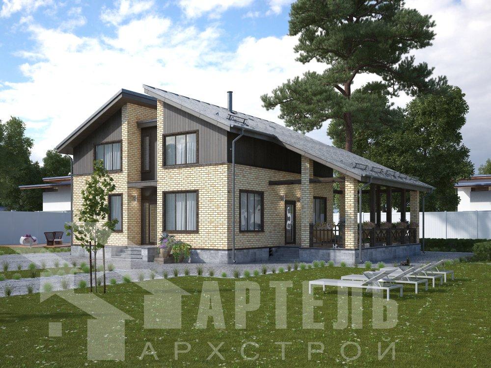 дом омбинированные дома площадью от 150 до 200 кв. м. с  мансардой, проект Вариант 14,2А Камень и Комбинированный фотография 6172