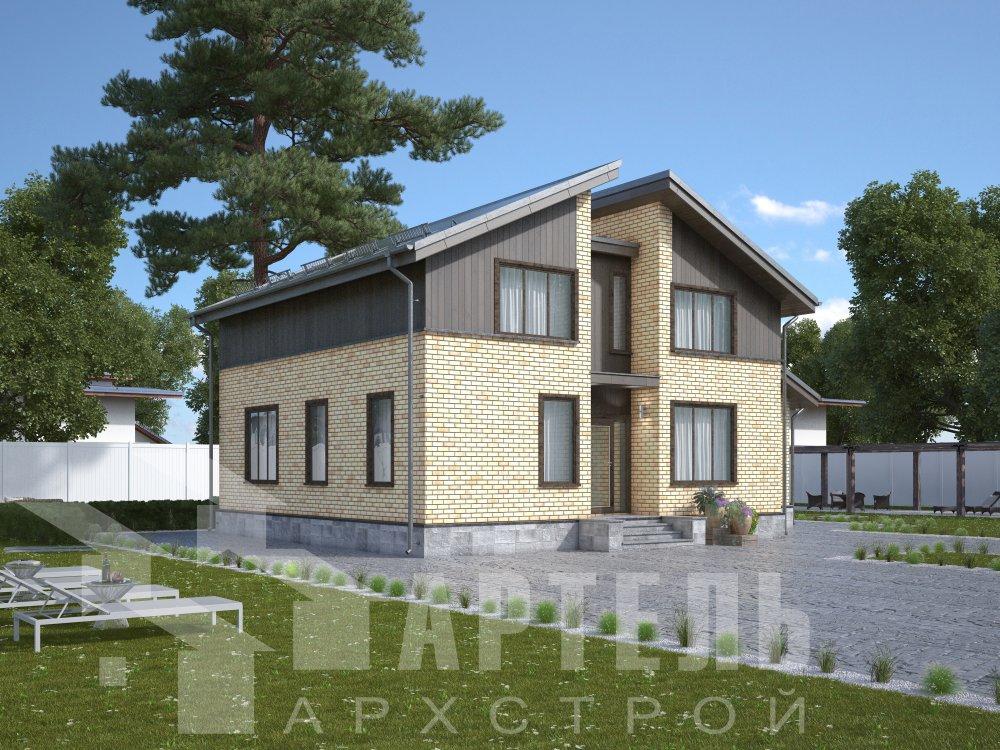 дом омбинированные дома площадью от 150 до 200 кв. м. с  мансардой, проект Вариант 14,2А Камень и Комбинированный фотография 6173