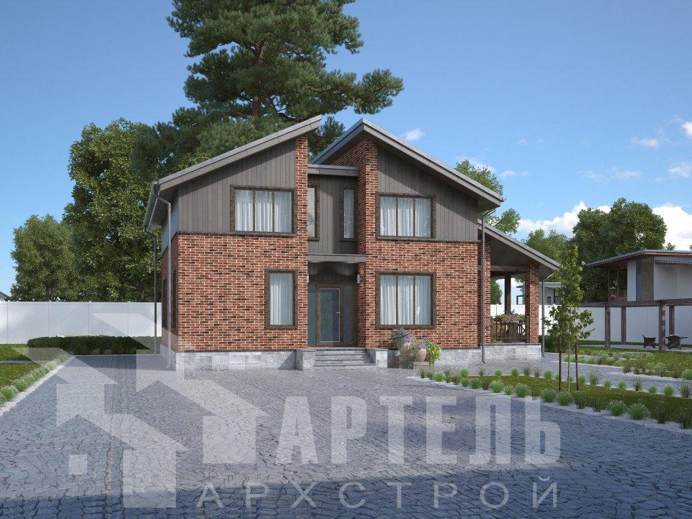 дом омбинированные дома площадью от 150 до 200 кв. м. с  мансардой, проект Вариант 14,2А Камень и Комбинированный фотография 6174
