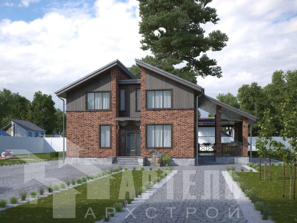 дом омбинированные дома площадью от 150 до 200 кв. м. с  мансардой, проект Вариант 14,2А Камень и Комбинированный фотография 6175