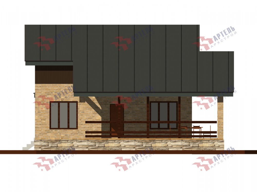 дом омбинированные дома площадью от 150 до 200 кв. м. с  мансардой, проект Вариант 14,2А Камень и Комбинированный фотография 6180