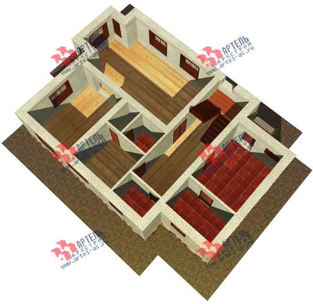 двухэтажный дом из камня площадью от 150 до 200 кв. м. с  балконом, эркером, проект Вариант 14 фотография 585