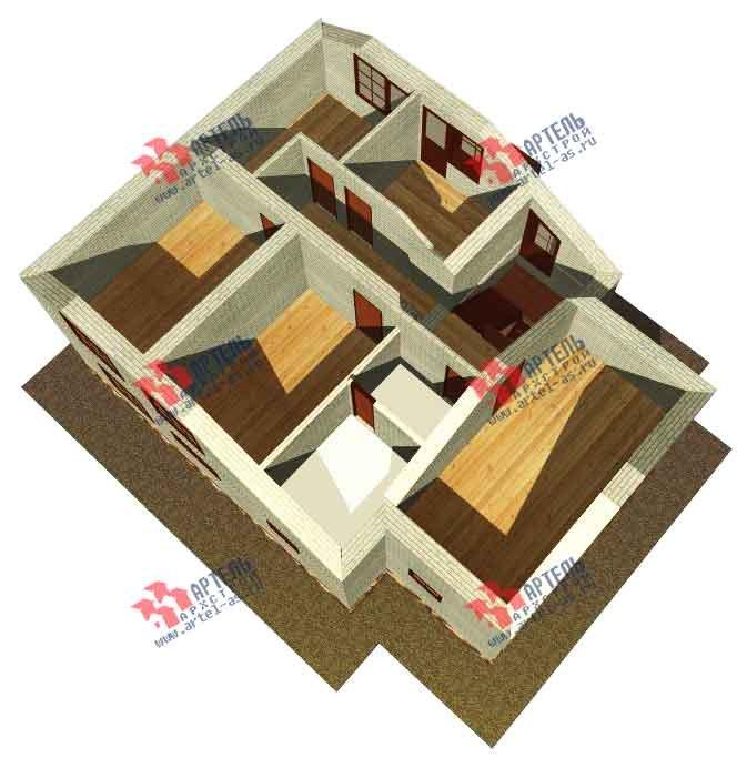 двухэтажный дом из камня площадью от 150 до 200 кв. м. с  балконом, эркером, проект Вариант 14 фотография 586