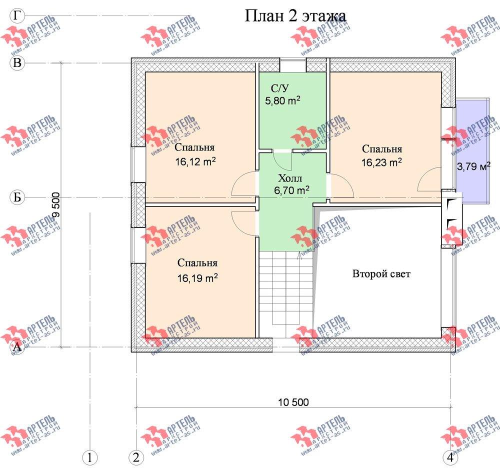 двухэтажный дом из камня площадью от 150 до 200 кв. м. с  балконом, проект Вариант 15 фотография 599