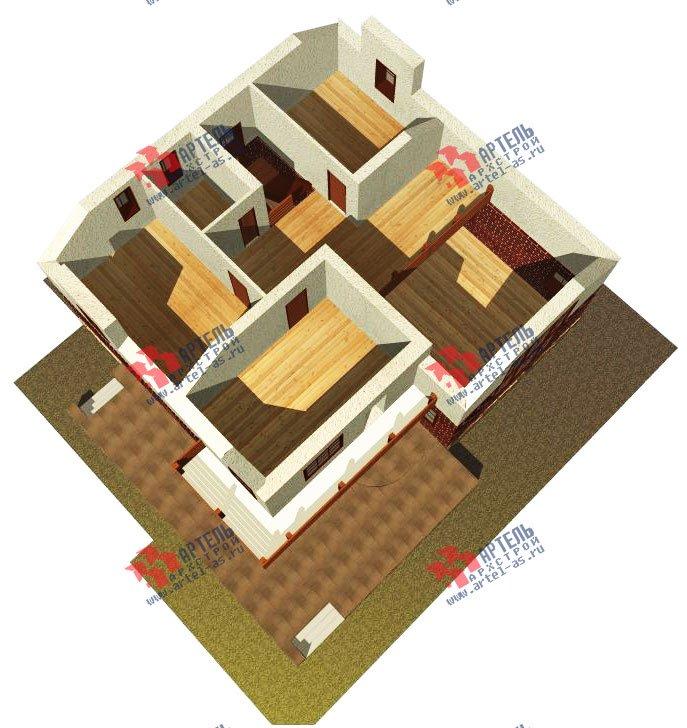 двухэтажный дом из камня площадью свыше 200 кв. м. с  балконом, террасой, проект Вариант 16 фотография 608