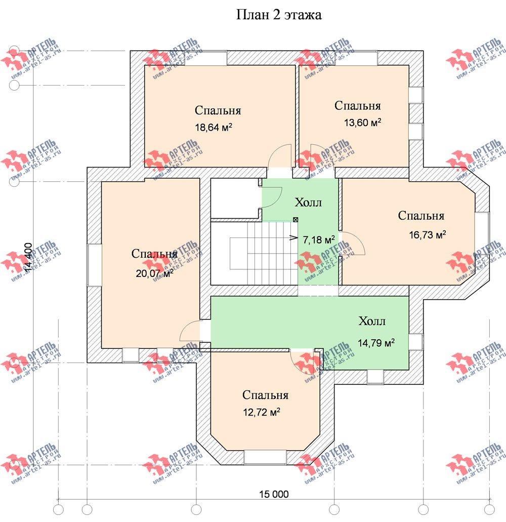 двухэтажный дом омбинированные дома площадью свыше 200 кв. м. с  эркером, проект Вариант 17 фотография 620