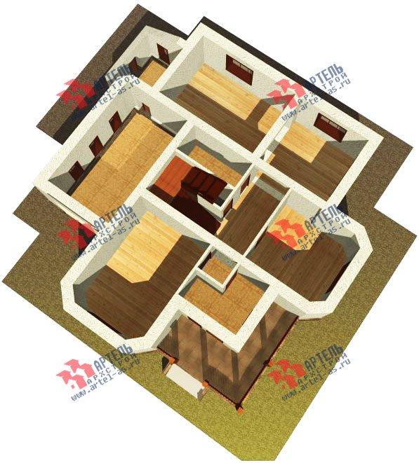 двухэтажный дом омбинированные дома площадью свыше 200 кв. м. с  эркером, проект Вариант 17 фотография 617
