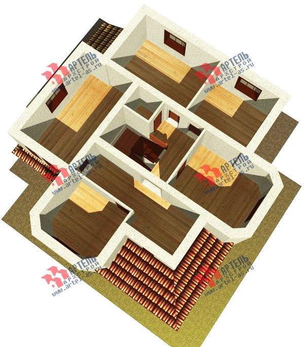 двухэтажный дом омбинированные дома площадью свыше 200 кв. м. с  эркером, проект Вариант 17 фотография 618