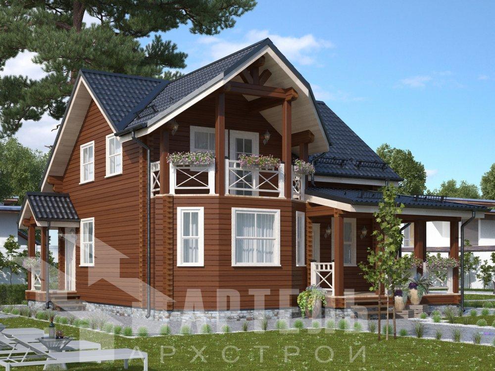 двухэтажный дом из профилированного бруса площадью от 100 до 150 кв. м. с  балконом, террасой, проект Вариант 10.7Л фотография 6544
