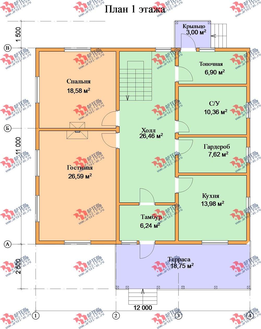 двухэтажный дом из бруса площадью свыше 200 кв. м. с  мансардой, террасой, проект Вариант 11 Л-1 фотография 2633