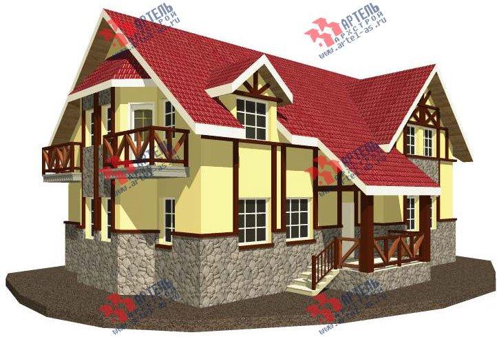 двухэтажный дом омбинированные дома площадью свыше 200 кв. м. с  балконом, эркером, проект Вариант 23 фотография 2712